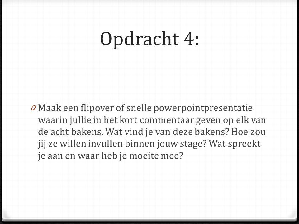 Opdracht 4: 0 Maak een flipover of snelle powerpointpresentatie waarin jullie in het kort commentaar geven op elk van de acht bakens. Wat vind je van