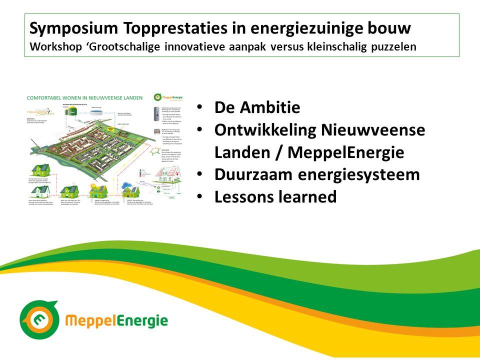 De Ambitie Ontwikkeling Nieuwveense Landen / MeppelEnergie Duurzaam energiesysteem Lessons learned Symposium Topprestaties in energiezuinige bouw Work