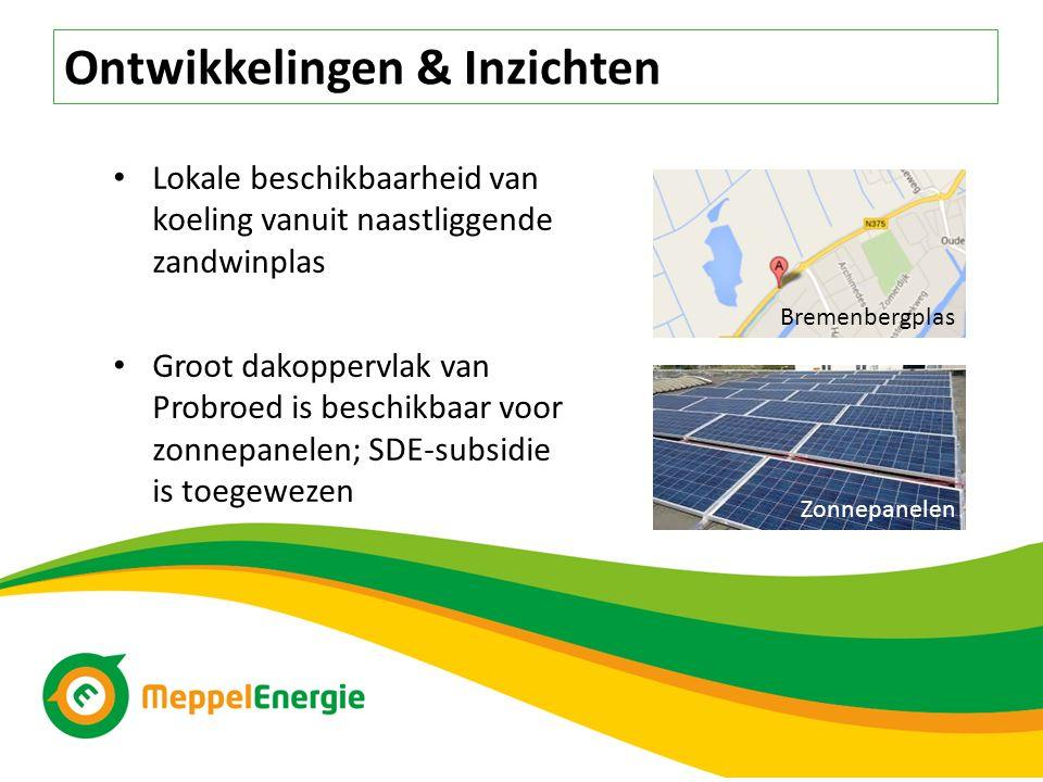 Ontwikkelingen & Inzichten Lokale beschikbaarheid van koeling vanuit naastliggende zandwinplas Groot dakoppervlak van Probroed is beschikbaar voor zonnepanelen; SDE-subsidie is toegewezen Bremenbergplas Zonnepanelen