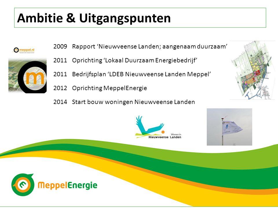 Ambitie & Uitgangspunten 2009 Rapport 'Nieuwveense Landen; aangenaam duurzaam' 2011 Oprichting 'Lokaal Duurzaam Energiebedrijf' 2011 Bedrijfsplan 'LDE