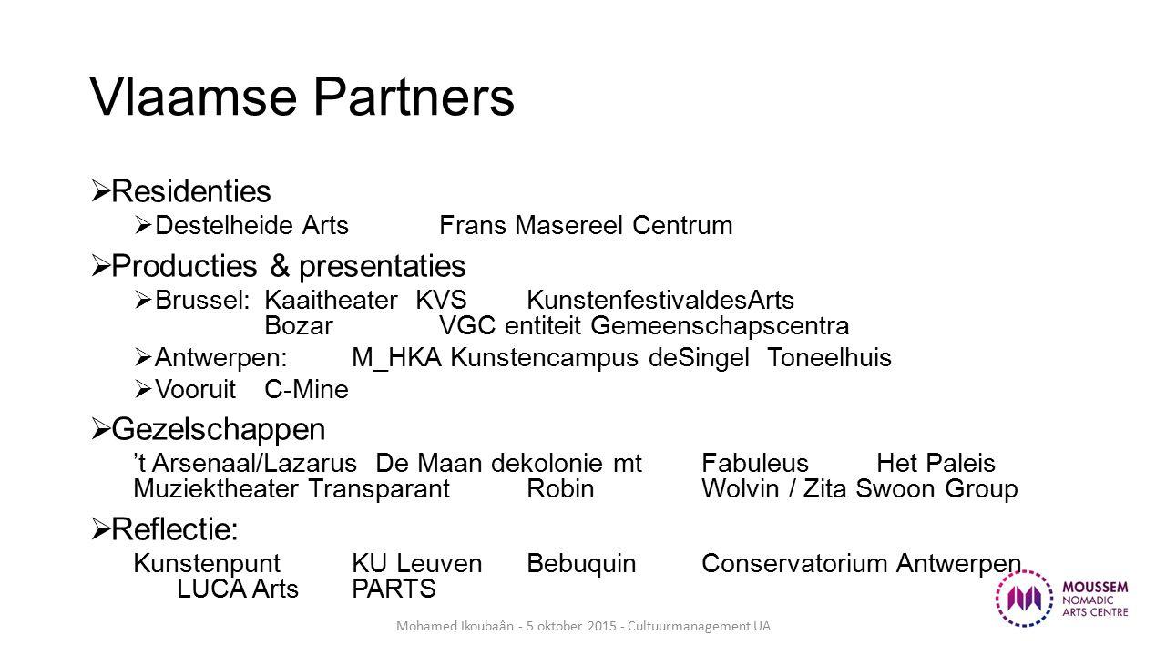Vlaamse Partners  Residenties  Destelheide Arts Frans Masereel Centrum  Producties & presentaties  Brussel: Kaaitheater KVS KunstenfestivaldesArts