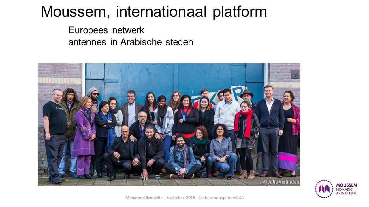 Moussem, internationaal platform Europees netwerk antennes in Arabische steden Mohamed Ikoubaân - 5 oktober 2015 - Cultuurmanagement UA