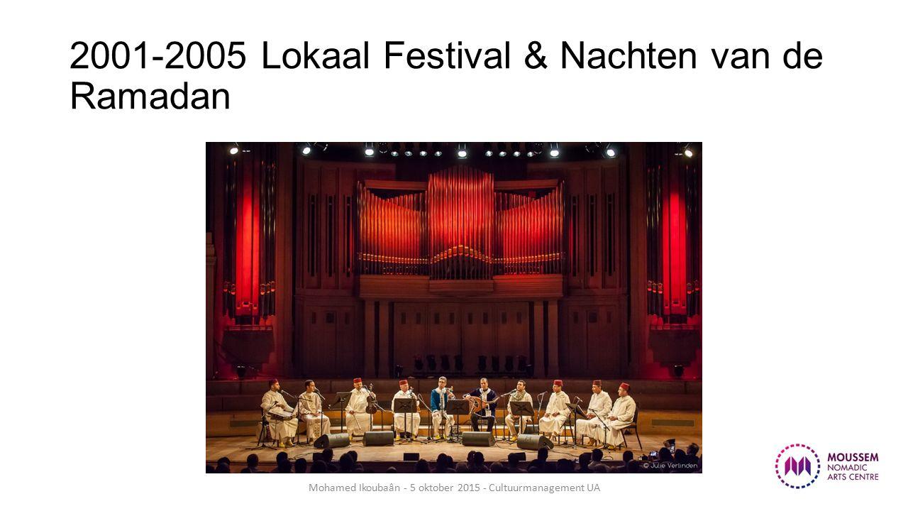 2001-2005 Lokaal Festival & Nachten van de Ramadan Mohamed Ikoubaân - 5 oktober 2015 - Cultuurmanagement UA