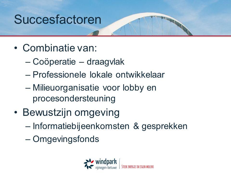 Combinatie van: –Coöperatie – draagvlak –Professionele lokale ontwikkelaar –Milieuorganisatie voor lobby en procesondersteuning Bewustzijn omgeving –I