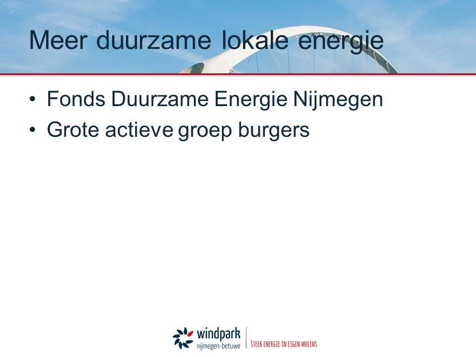 Fonds Duurzame Energie Nijmegen Grote actieve groep burgers Meer duurzame lokale energie