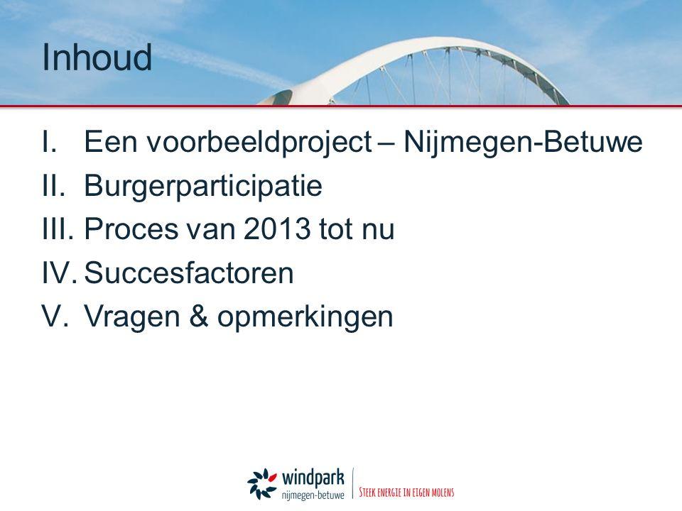 I.Een voorbeeldproject – Nijmegen-Betuwe II.Burgerparticipatie III.Proces van 2013 tot nu IV.Succesfactoren V.Vragen & opmerkingen Inhoud