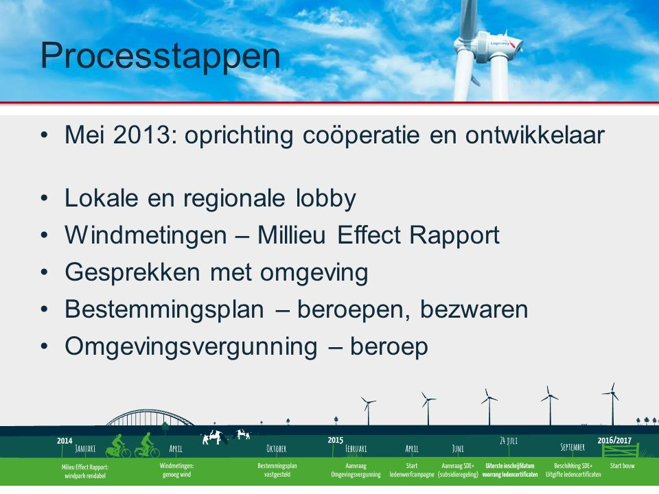 Ledenwerving Windturbineleverancier Plan voor financiering en participaties leden Financiering: SDE+ subsidie, banklening Energielevering Definitief bouwplan: 12 november 2015 Start bouw: april 2016 Processtappen