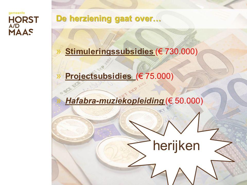 De herziening gaat over… » Stimuleringssubsidies (€ 730.000) » Projectsubsidies (€ 75.000) » Hafabra-muziekopleiding (€ 50.000) herijken
