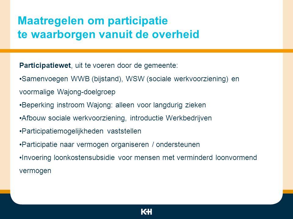 Maatregelen om participatie te waarborgen bij bedrijven Participatie-afspraken bedrijfsleven Kabinet: -Burgers moeten naar vermogen kunnen deelnemen aan arbeid -Bedrijven moeten ook burgers met een beperking arbeid bieden -Bedrijven moeten voor adequate begeleiding zorgen en risico's voor de doelgroep beperken -Op termijn moet arbeidspotentieel afspiegeling zijn van samenleving (anti- discriminatie maatregel) -Tegemoetkoming in arbeidskosten en afdekken risico, ondersteuning beschikbaar -Quotumwet: 5% omvat doelgroep (voor bedrijven >25 werknemers) -Sectorplannen: 1/3 gericht op doelgroepen