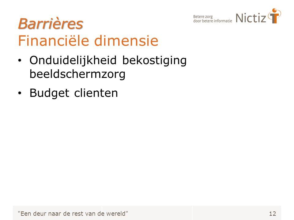Barrières Barrières Financiële dimensie Onduidelijkheid bekostiging beeldschermzorg Budget clienten Een deur naar de rest van de wereld 12