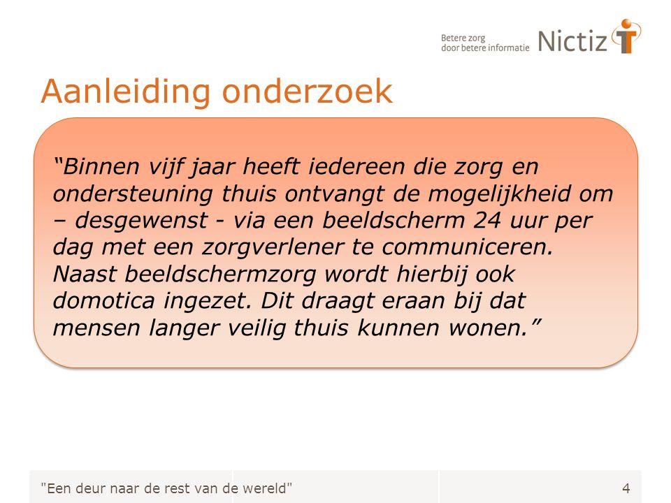 Aanleiding onderzoek Beeldschermzorg Huidige cijfers Doelstelling Nederlandse overheid Kennis aangaande implementatie