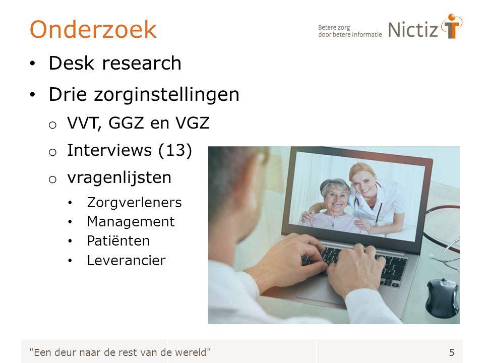 Onderzoek Desk research Drie zorginstellingen o VVT, GGZ en VGZ o Interviews (13) o vragenlijsten Zorgverleners Management Patiënten Leverancier