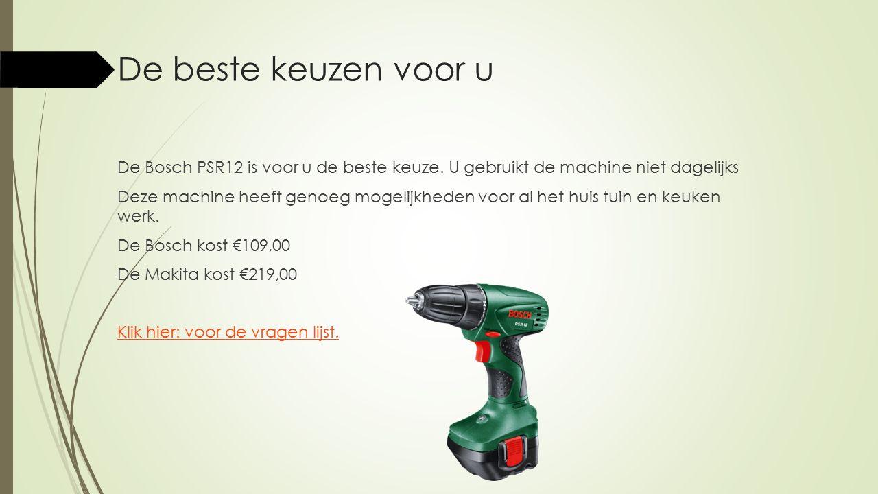 De beste keuzen voor u De Bosch PSR12 is voor u de beste keuze. U gebruikt de machine niet dagelijks Deze machine heeft genoeg mogelijkheden voor al h
