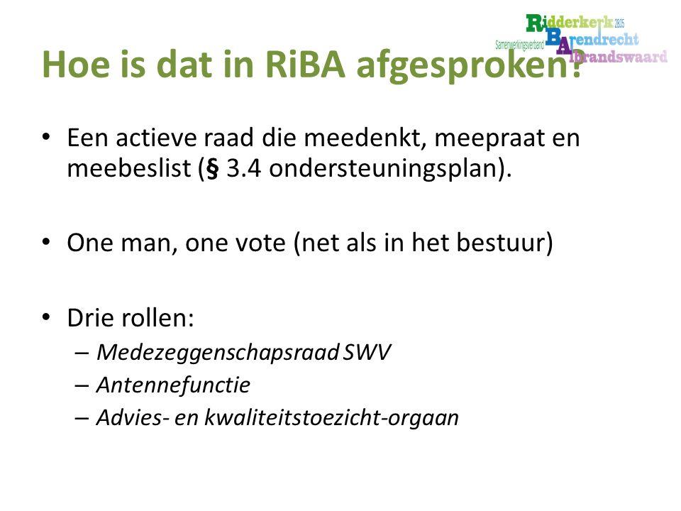 Hoe is dat in RiBA afgesproken.