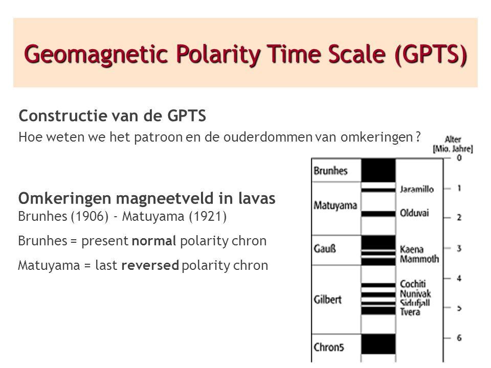 Constructie van de GPTS Hoe weten we het patroon en de ouderdommen van omkeringen ? Omkeringen magneetveld in lavas Brunhes (1906) - Matuyama (1921) B