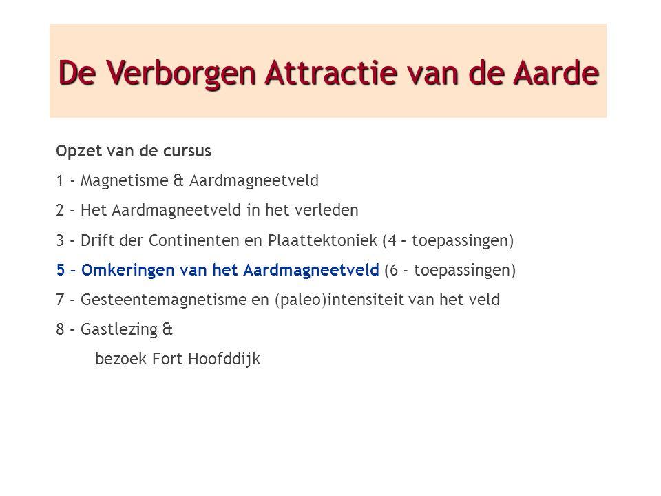 Opzet van de cursus 1 - Magnetisme & Aardmagneetveld 2 – Het Aardmagneetveld in het verleden 3 – Drift der Continenten en Plaattektoniek (4 – toepassi
