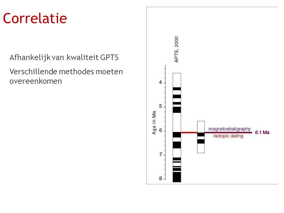 Afhankelijk van kwaliteit GPTS Verschillende methodes moeten overeenkomen Correlatie