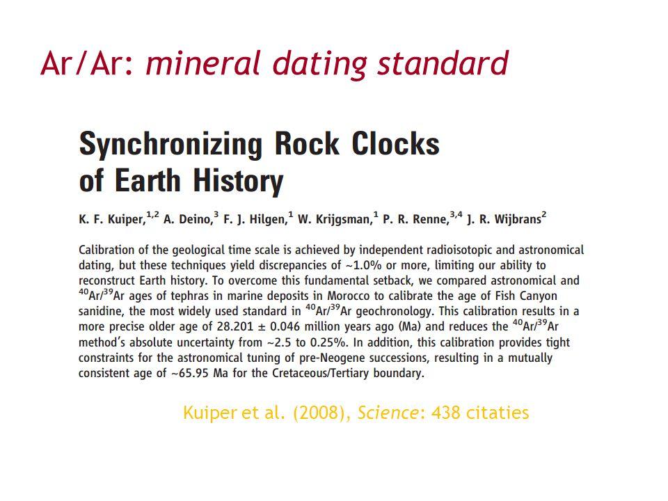 Ar/Ar: mineral dating standard Kuiper et al. (2008), Science: 438 citaties