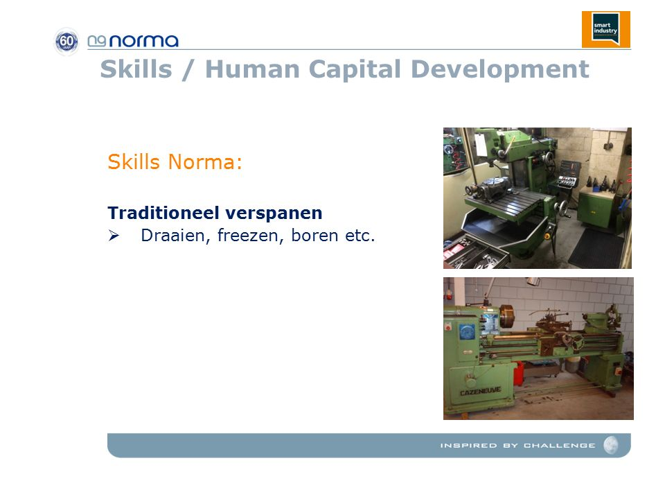 Skills / Human Capital Development Skills Norma: Traditioneel verspanen  Draaien, freezen, boren etc.