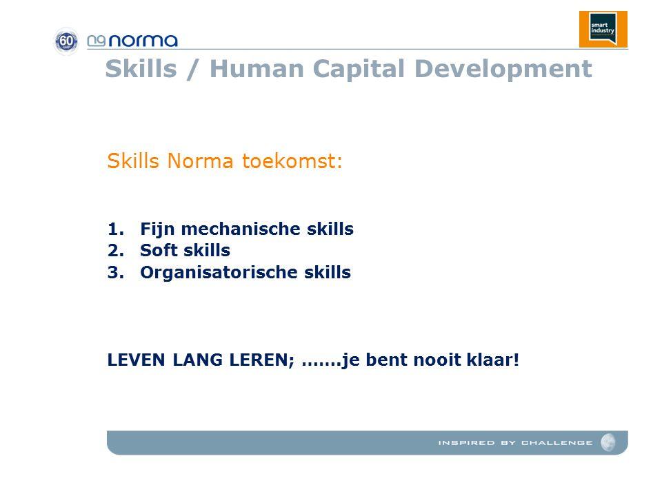 Skills / Human Capital Development Skills Norma toekomst: 1.Fijn mechanische skills 2.Soft skills 3.Organisatorische skills LEVEN LANG LEREN; …….je bent nooit klaar!