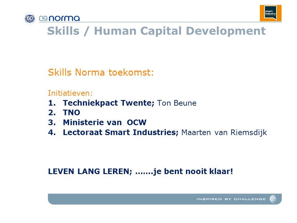 Skills / Human Capital Development Skills Norma toekomst: Initiatieven: 1.Techniekpact Twente; Ton Beune 2.TNO 3.Ministerie van OCW 4.Lectoraat Smart Industries; Maarten van Riemsdijk LEVEN LANG LEREN; …….je bent nooit klaar!