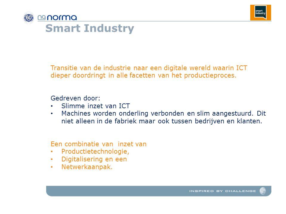 Smart Industry Transitie van de industrie naar een digitale wereld waarin ICT dieper doordringt in alle facetten van het productieproces.