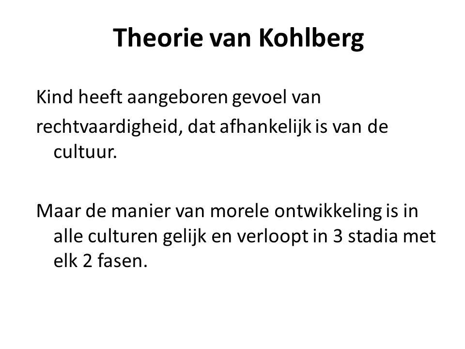 Theorie van Kohlberg Kind heeft aangeboren gevoel van rechtvaardigheid, dat afhankelijk is van de cultuur.