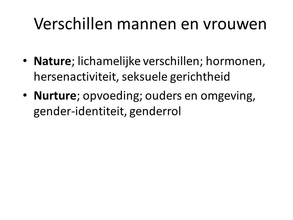 Verschillen mannen en vrouwen Nature; lichamelijke verschillen; hormonen, hersenactiviteit, seksuele gerichtheid Nurture; opvoeding; ouders en omgeving, gender-identiteit, genderrol