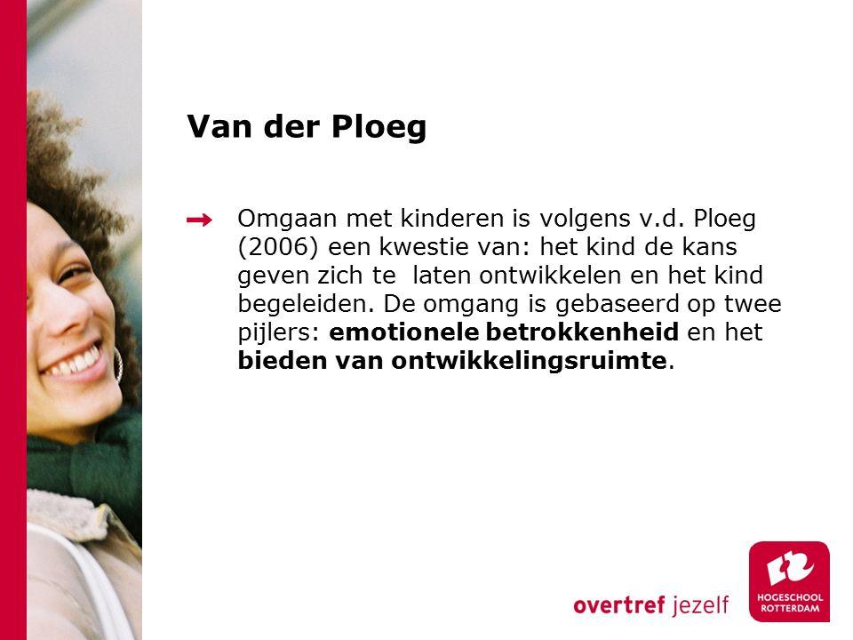 Van der Ploeg Omgaan met kinderen is volgens v.d. Ploeg (2006) een kwestie van: het kind de kans geven zich te laten ontwikkelen en het kind begeleide