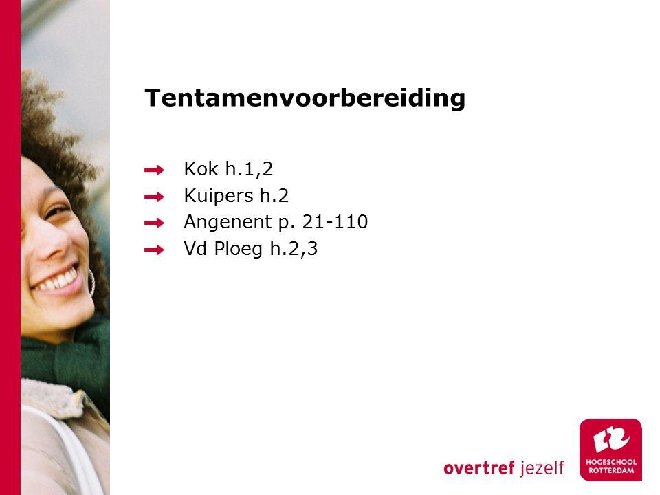 Tentamenvoorbereiding Kok h.1,2 Kuipers h.2 Angenent p. 21-110 Vd Ploeg h.2,3