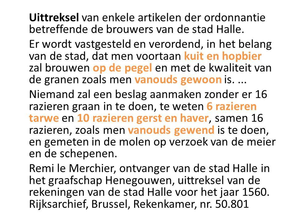 Uittreksel van enkele artikelen der ordonnantie betreffende de brouwers van de stad Halle.