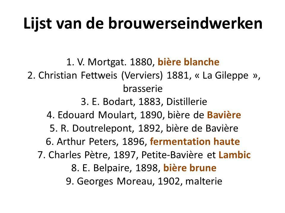 Lijst van de brouwerseindwerken 1. V. Mortgat. 1880, bière blanche 2.