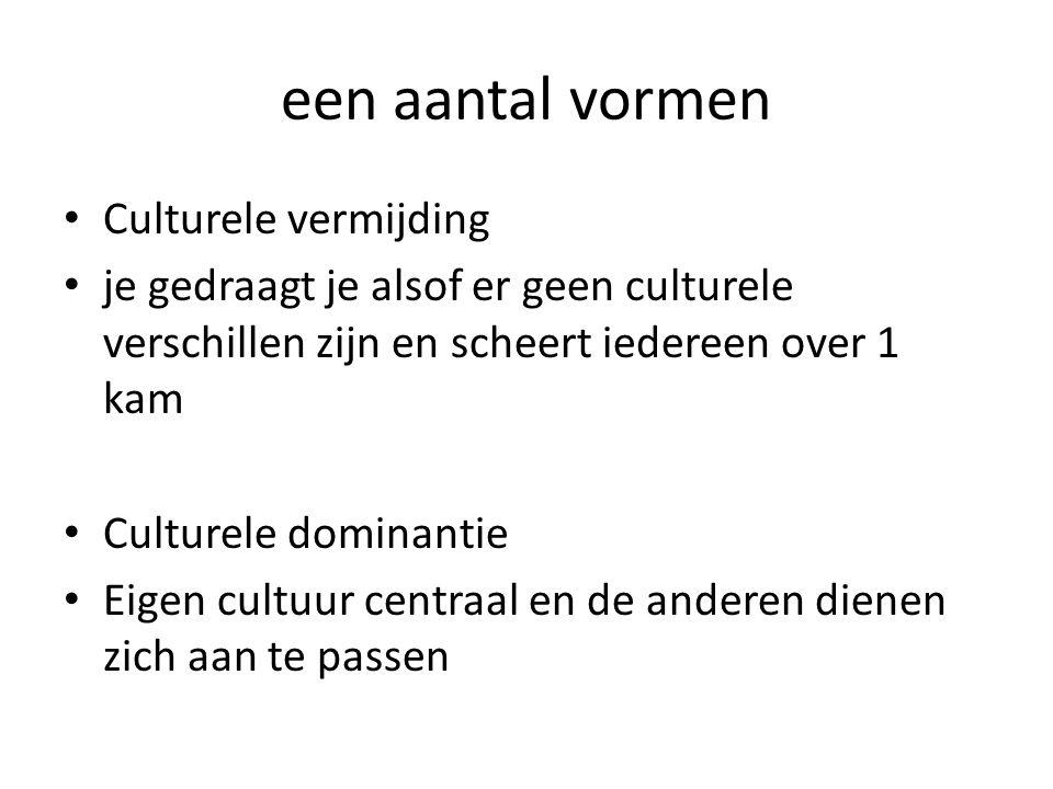 een aantal vormen Culturele vermijding je gedraagt je alsof er geen culturele verschillen zijn en scheert iedereen over 1 kam Culturele dominantie Eig