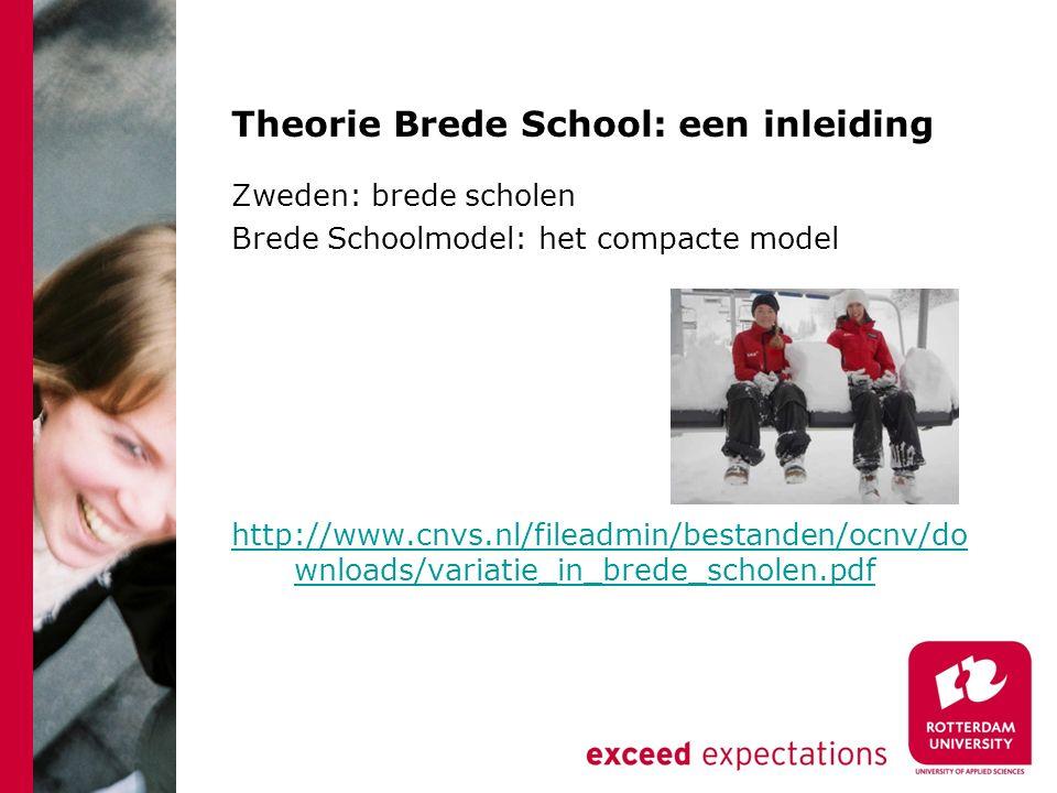 Theorie Brede School: een inleiding Zweden: brede scholen Brede Schoolmodel: het compacte model http://www.cnvs.nl/fileadmin/bestanden/ocnv/do wnloads/variatie_in_brede_scholen.pdf