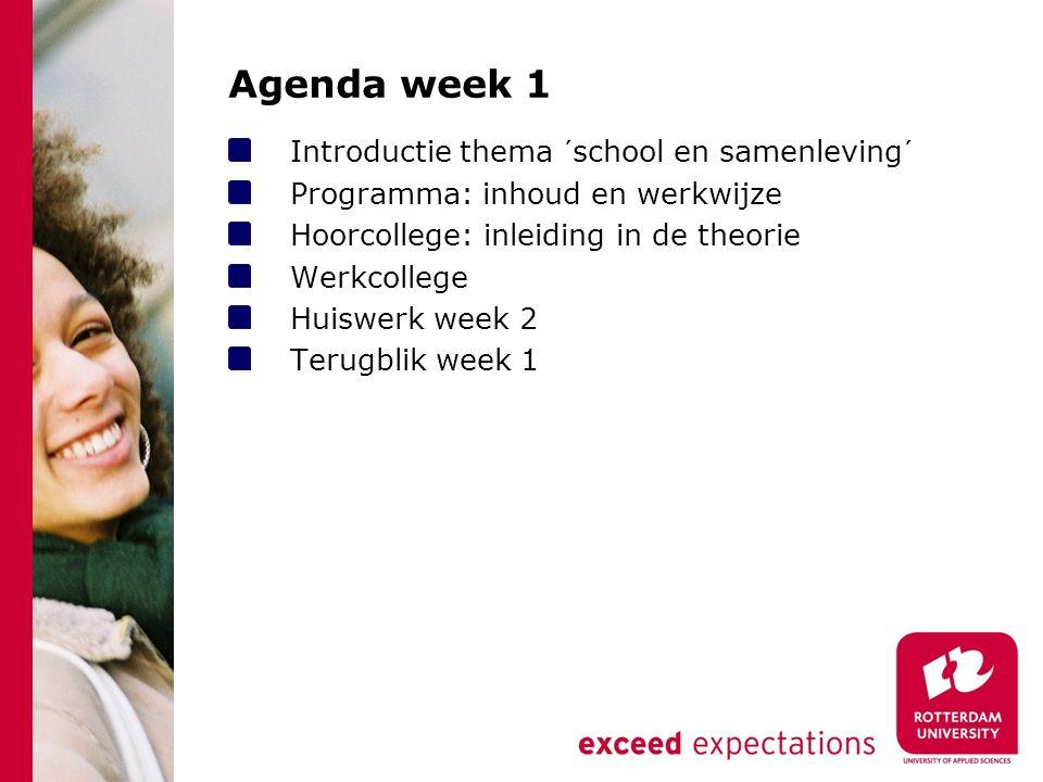 Agenda week 1 Introductie thema ´school en samenleving´ Programma: inhoud en werkwijze Hoorcollege: inleiding in de theorie Werkcollege Huiswerk week 2 Terugblik week 1