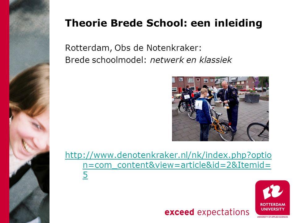Theorie Brede School: een inleiding Rotterdam, Obs de Notenkraker: Brede schoolmodel: netwerk en klassiek http://www.denotenkraker.nl/nk/index.php optio n=com_content&view=article&id=2&Itemid= 5