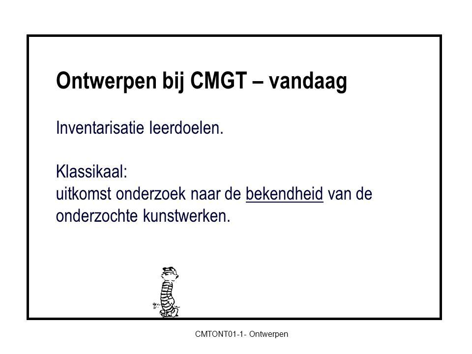 Ontwerpen bij CMGT – vandaag Inventarisatie leerdoelen.
