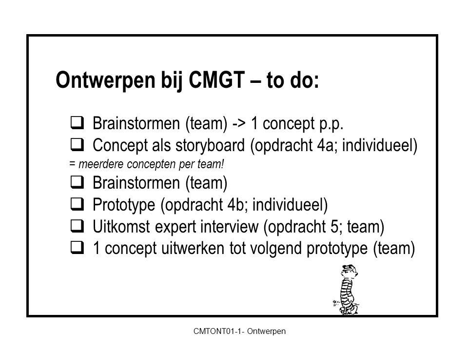  Brainstormen (team) -> 1 concept p.p.