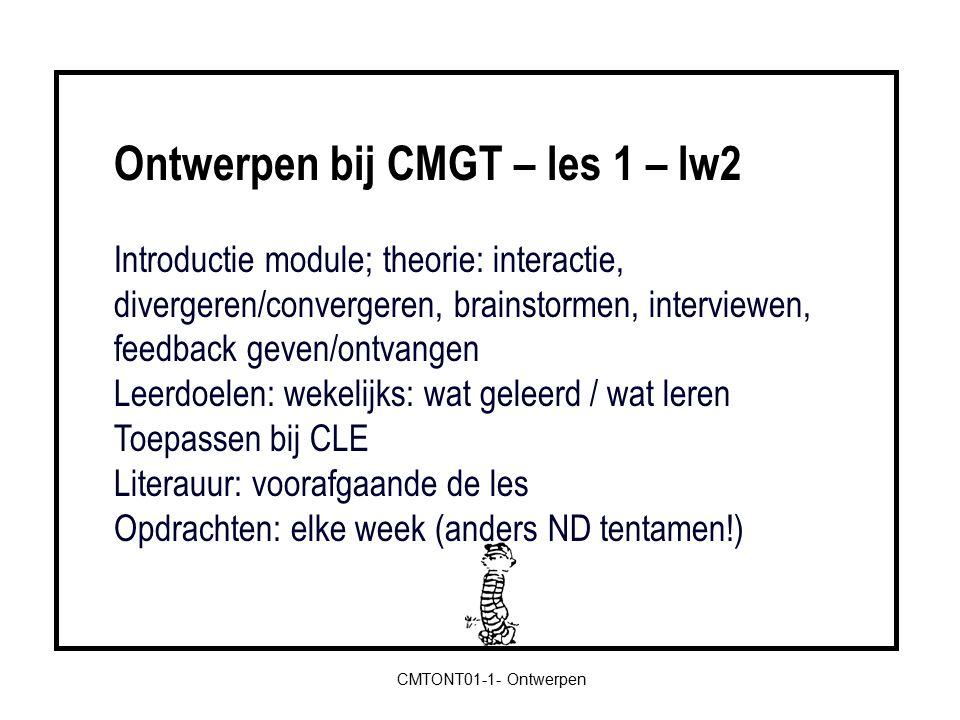 Inventarisatie leerdoelen.- Interviewtechnieken -> bij CLE aangeven.