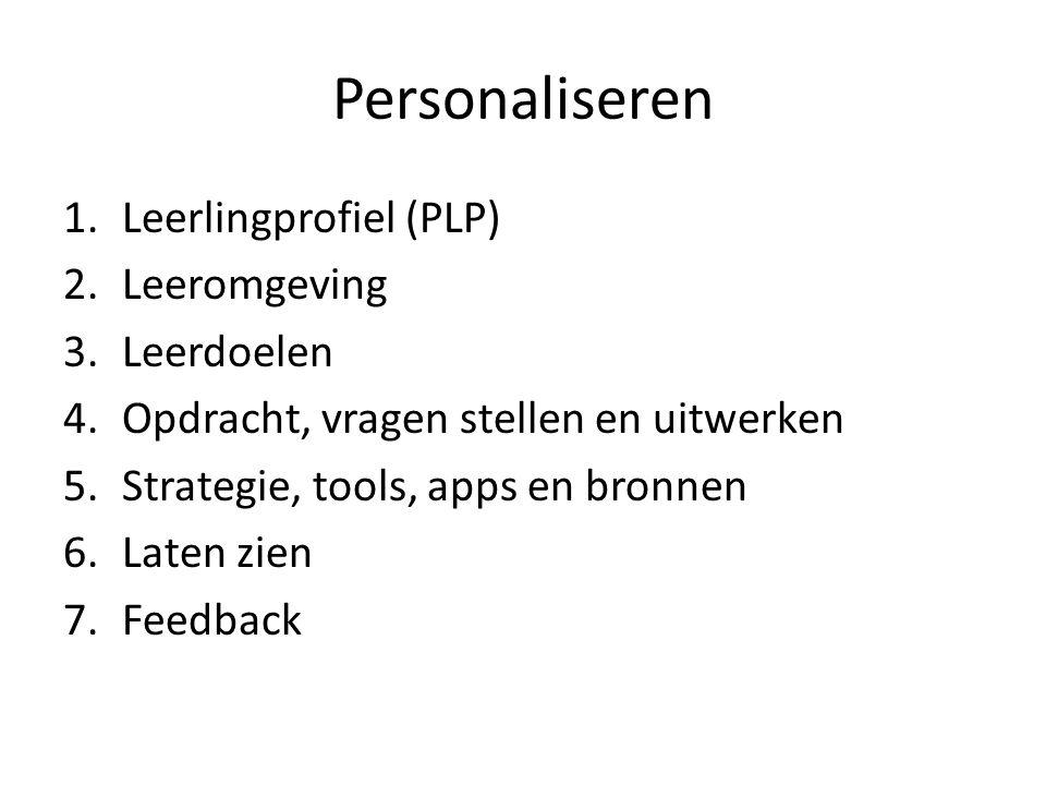 Personaliseren 1.Leerlingprofiel (PLP) 2.Leeromgeving 3.Leerdoelen 4.Opdracht, vragen stellen en uitwerken 5.Strategie, tools, apps en bronnen 6.Laten zien 7.Feedback