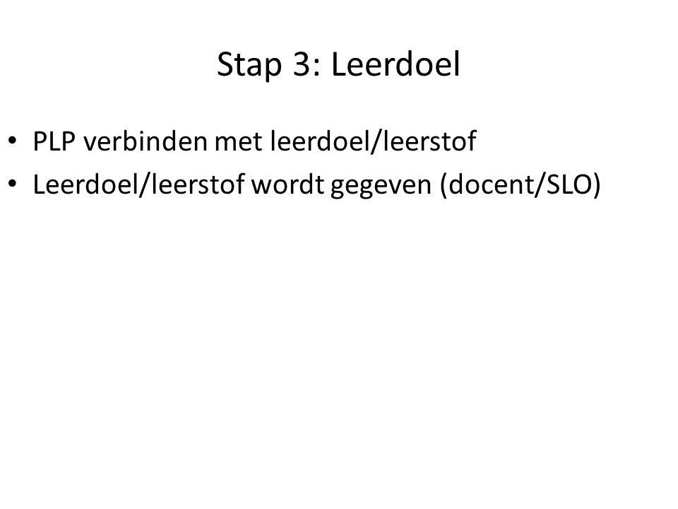 Stap 3: Leerdoel PLP verbinden met leerdoel/leerstof Leerdoel/leerstof wordt gegeven (docent/SLO) http://ko.slo.nl/kerndoelen/
