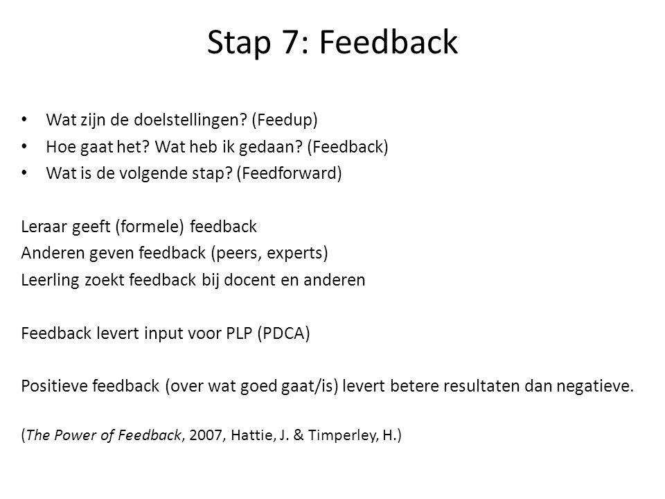 Stap 7: Feedback Wat zijn de doelstellingen.(Feedup) Hoe gaat het.