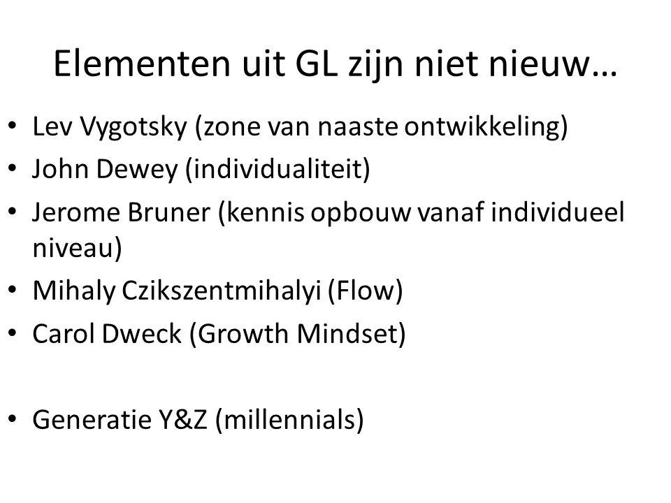 Elementen uit GL zijn niet nieuw… Lev Vygotsky (zone van naaste ontwikkeling) John Dewey (individualiteit) Jerome Bruner (kennis opbouw vanaf individueel niveau) Mihaly Czikszentmihalyi (Flow) Carol Dweck (Growth Mindset) Generatie Y&Z (millennials)