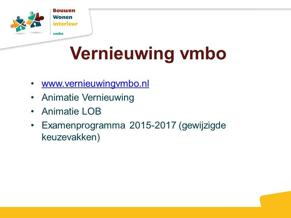 Vernieuwing vmbo www.vernieuwingvmbo.nl Animatie Vernieuwing Animatie LOB Examenprogramma 2015-2017 (gewijzigde keuzevakken)