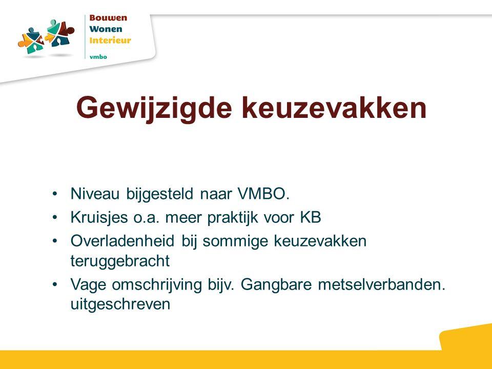 Niveau bijgesteld naar VMBO. Kruisjes o.a. meer praktijk voor KB Overladenheid bij sommige keuzevakken teruggebracht Vage omschrijving bijv. Gangbare