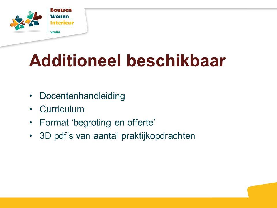Additioneel beschikbaar Docentenhandleiding Curriculum Format 'begroting en offerte' 3D pdf's van aantal praktijkopdrachten