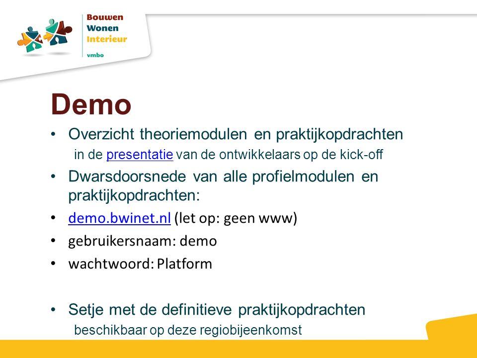 Demo Overzicht theoriemodulen en praktijkopdrachten in de presentatie van de ontwikkelaars op de kick-off presentatie Dwarsdoorsnede van alle profielm