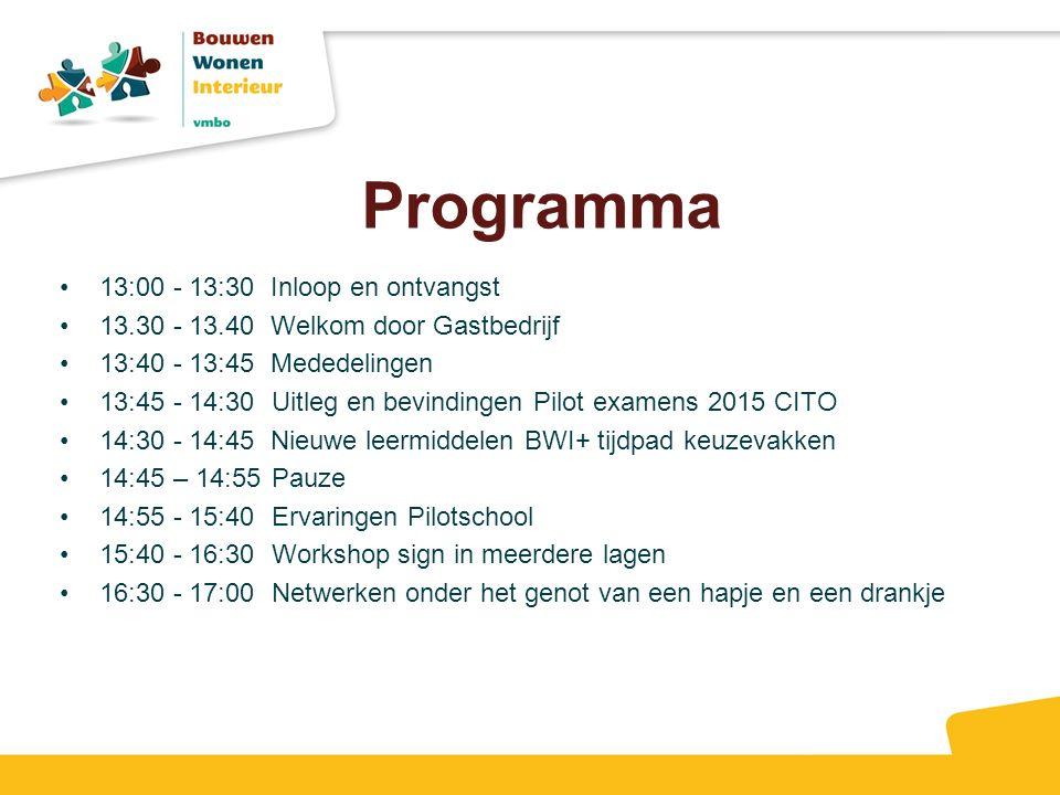 Programma 13:00 - 13:30 Inloop en ontvangst 13.30 - 13.40 Welkom door Gastbedrijf 13:40 - 13:45 Mededelingen 13:45 - 14:30 Uitleg en bevindingen Pilot