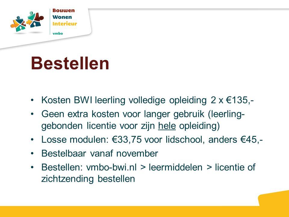 Bestellen Kosten BWI leerling volledige opleiding 2 x €135,- Geen extra kosten voor langer gebruik (leerling- gebonden licentie voor zijn hele opleidi