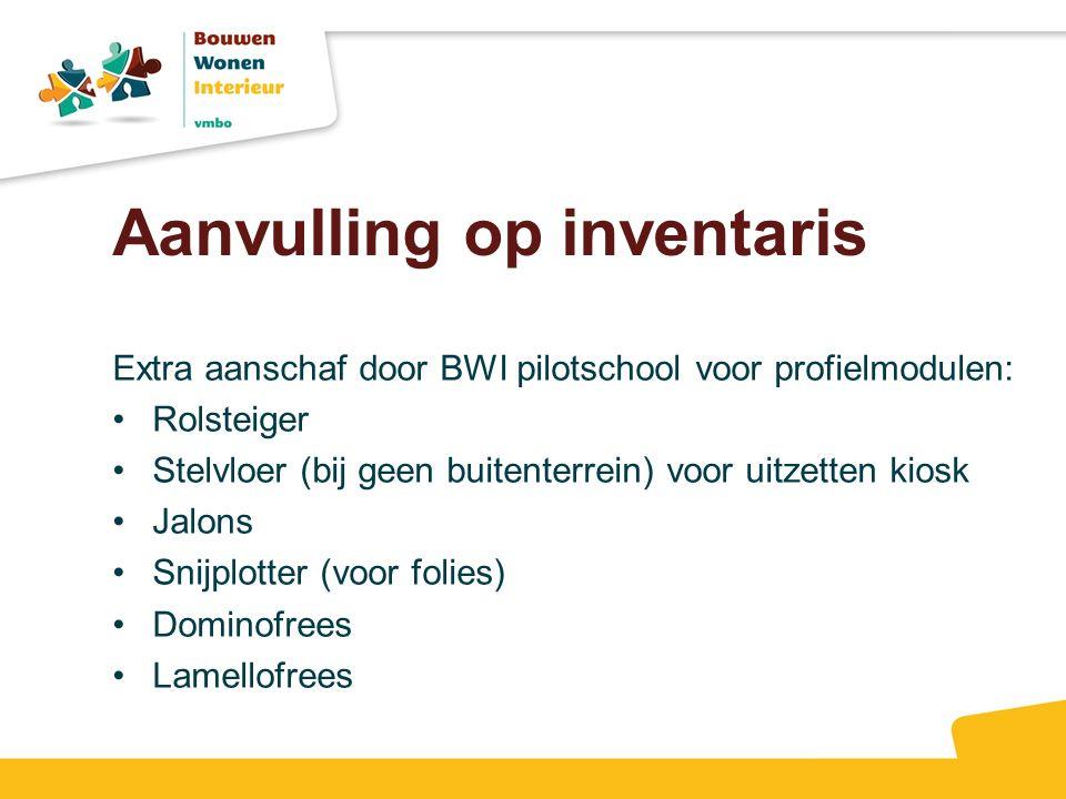 Aanvulling op inventaris Extra aanschaf door BWI pilotschool voor profielmodulen: Rolsteiger Stelvloer (bij geen buitenterrein) voor uitzetten kiosk J